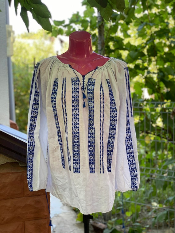 Blue embroidered ethnic blouse, vintage antique wh