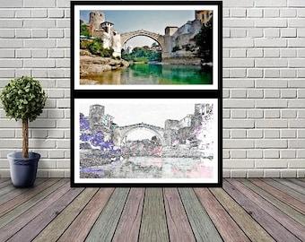 67 wall dish Enamel dish whouse and bridge Mostar dekor Zagreb Rucni rad Yugoslavia 9 in