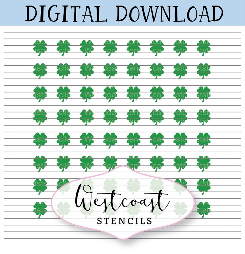 PNG Cutting File Digital Download Cookie Stencil DIGITAL Four Leaf Clover Sprinkle Stencil SVG St Patrick/'s