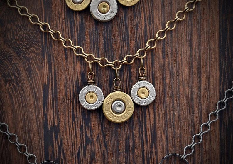 Triple Primer Brass Bullet Necklace