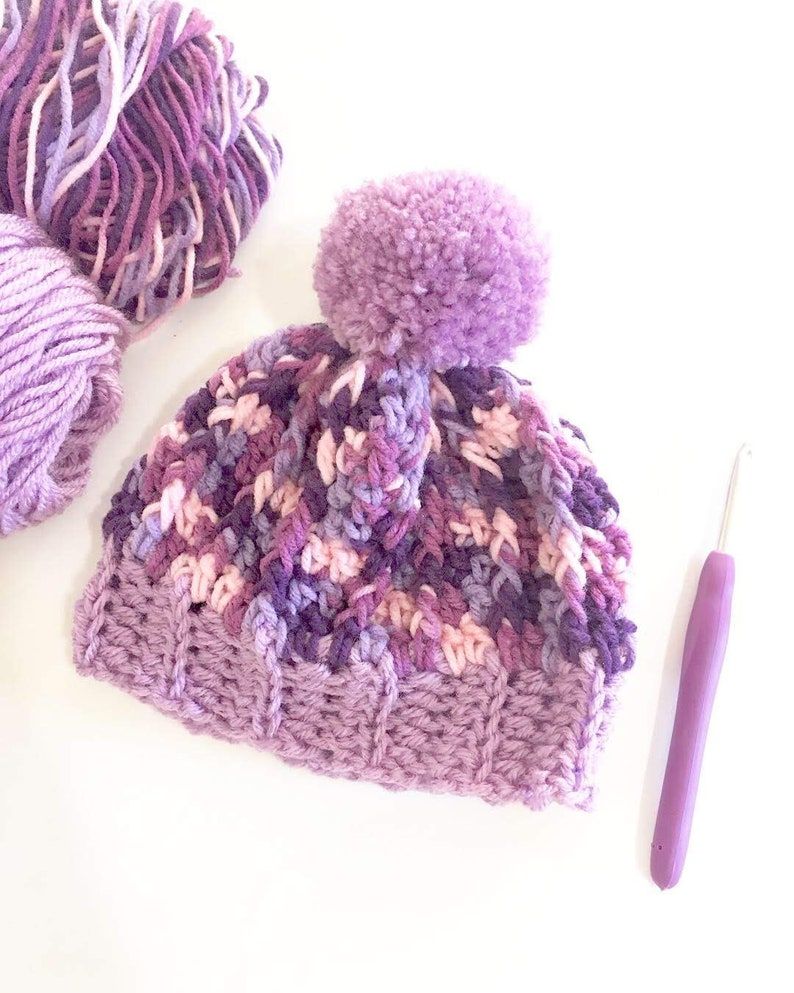 Baby New Born Size Beanie Purple Pom Pom Crochet Hat