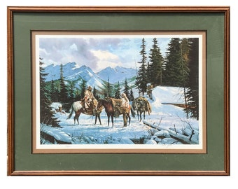 Signed Gerry Metz Mountain Trackers 74 / 375 Winter Horses Snow Framed Art Print Wall Art Vintage