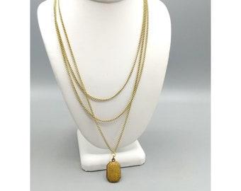 Antique Victorian Brass Slide Locket Multi Strand Necklace, Victorian Chatelaine Jewelry, Rectangular Octagon Pendant on Triple Strand Chain