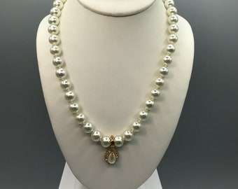 Roman Teardrop Pearl Pendant Enhancer on NWT Lustrous Knotted Glass Pearl Strand, Stunning Vintage Necklace for Wedding or Occasion