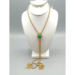 Delizza and Elster for Avon Ming Green Slide Tassel Necklace 1973 Ming Green D /& E Lariat Peking Glass Tassel Necklace Book Item Necklace