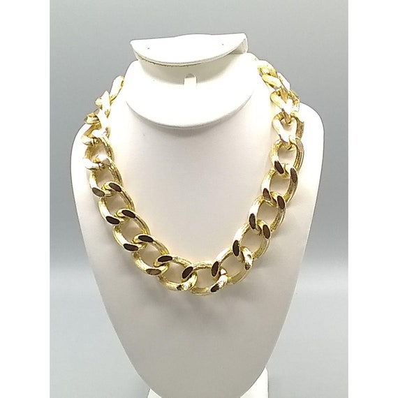 Big Gold Link Eloxal Chain Necklace Choker West Germany