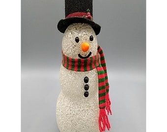 Vintage Avon Melted Plastic Popcorn Snowman, Can Be Lit From Inside, Christmas Winter Holiday Decor