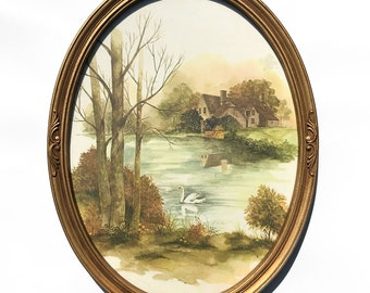 Homco F. Massa Swan Pond Oval Gold Plastic Framed Watercolor Print Cottage Vintage Decor Lithograph Print Framed Wall Art Scenery 1981