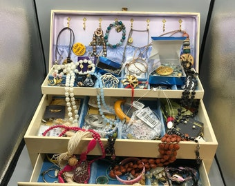 Vintage Jewelry Lot in Estate Jewelry Box, Wear, Gift, Resell, Collect! Personal Treasure Hunt