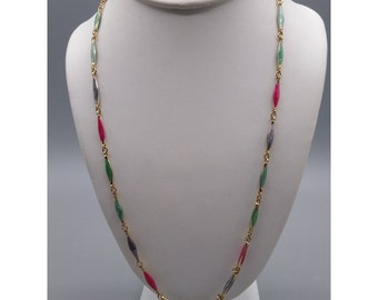 Retro Enamel Link Chain Necklace, Colorful Vintage, Gold Tone Puffy Elongated Links, Jewel Tones Offset with Hot Pink