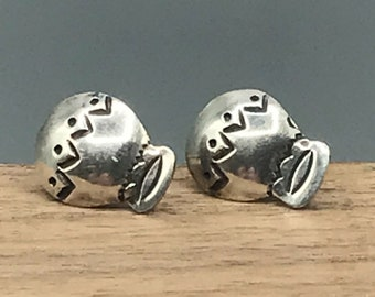 Sterling Silver Hot Air Balloon Earrings, Stud Pair, Unique Gift