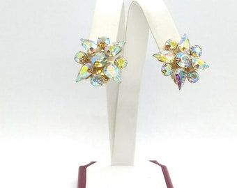 Vintage WEISS Clip On AB Crystal Earrings Signed