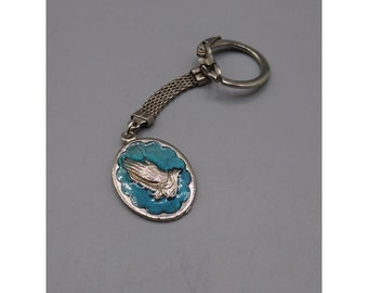 Vintage Enamel Keychain with Praying Hands and Serenity Prayer
