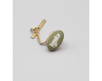 Green Wedgewood Gold Filled Tie Tack, Praying Maiden, GF Vintage Pin