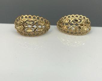 Etched Filigree Sterling Vermeil Half Hoops, Vintage Gold Plated Silver Earrings