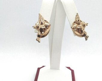 SB Sterling Screwback Earrings Gold Vermeil Flower Flowers Floral Lupine Delphinium