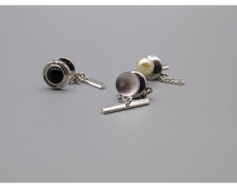 Vintage Tie Tack Bundle, Minimalist Faux Pearl and Silver Tone Lot, Classic Trio of Men's Accessories, Great Gift for Him