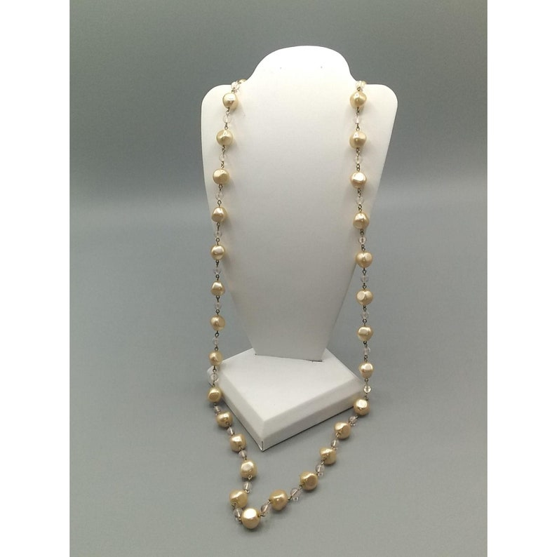 Long Pearls and Clear Beads Vintage Agatha Paris Pearl Necklace