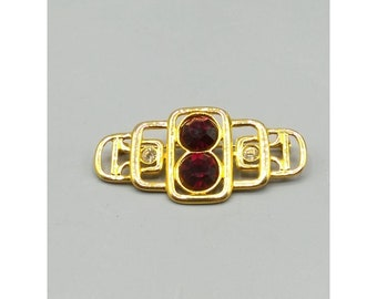 Vintage Brilliant Red Crystal Brooch with Gold Tone Geometric Design, Foil Backed Rhinestones, Elegant and Classy Lapel Pin