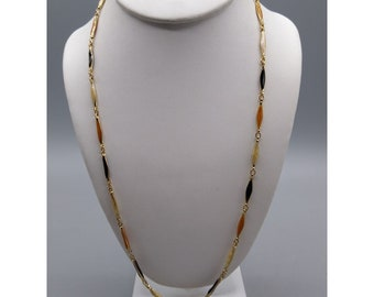 Retro Enamel Link Chain Necklace, Colorful Vintage, Gold Tone Puffy Elongated Links, Autumn Hues Offset with Black
