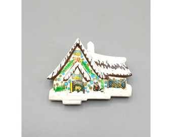 Vintage Snowy Alpine Chalet Brooch, Painted Wooden Winter Pin