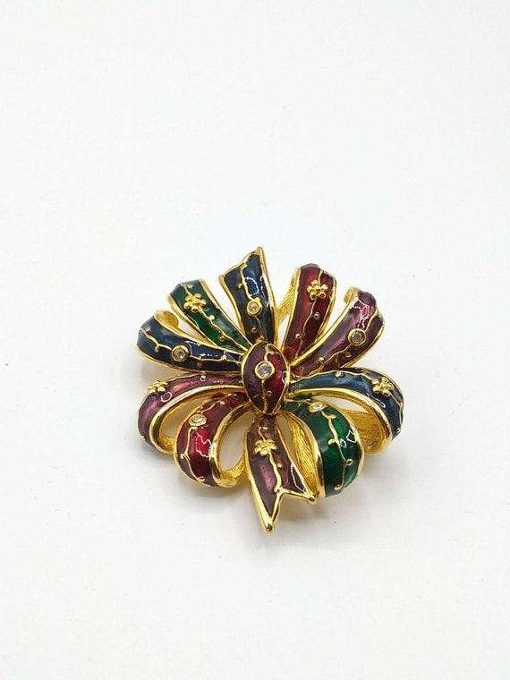 Vintage Joan Rivers Early Multicolored Enamel Bow