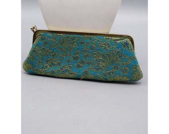 Bright Teal Brocade Silk Eyeglasses Case, Vintage Optical Fashion by Rosanne, Beautiful Clutch with Kiss Clasp