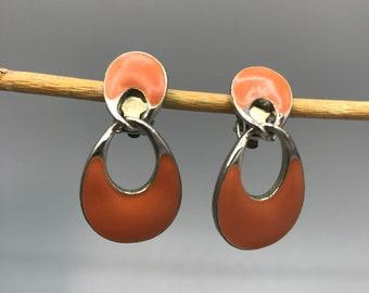 Fun Orange and Silver Tone Door Knocker Earrings, Vintage Fall Halloween Studs