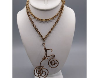 Copper Wire Sculptural Pendant, Miniature Tricycle Necklace on Gold Tone Chain, Unique and Funky