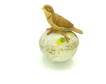 Vintage Porcelain Trinket Box with Bisque Bird on Lid, Jewelry Box, Ceramic Ring Box, Berry Branch, Sparrow, Songbird