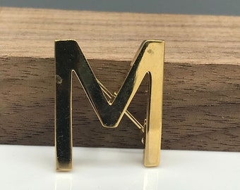 Monet Block Letter M or W Brooch, Vintage Gold Tone Initial Monogram Pin, Great Gift