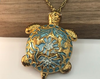 Vintage Cloisonne Turtle Pendant Brooch, Crystal Eyes and Floral Design on Shell, Gold Tone on Chain Necklace