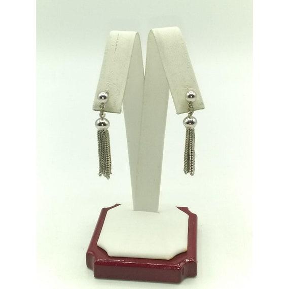 Vintage Monet Silver Plated Tassel Earrings, Stud… - image 2