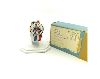 Vintage 1972 Uncle Sam VOTE Patriotic Watch, Collectible Date Mechanical Wristwatch with Red, White and Blue Striped Ribbon Band