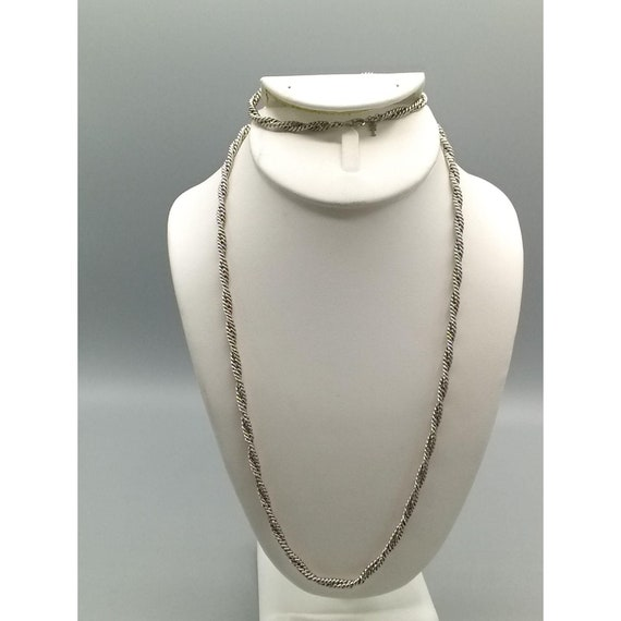 Vintage Rope Necklace Silver tone /& Red Twist Minimalist Chain 17.5 Long