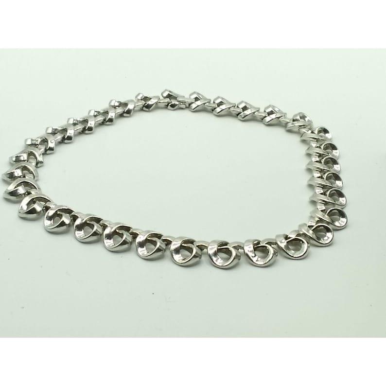 Silver Tone Trifanium Loops RARE Find Alfred Philippe Designer Vintage Crown Trifari Choker Necklace