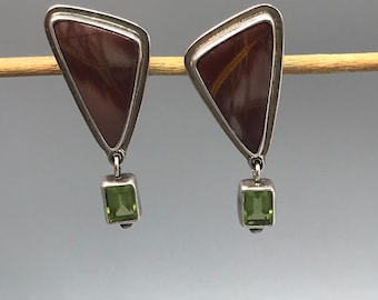 OOAK Obsidian Sterling Stone Earrings with Peridot Dangle, Vintage Mauve Natural Stone Clip Ons in Sterling Silver