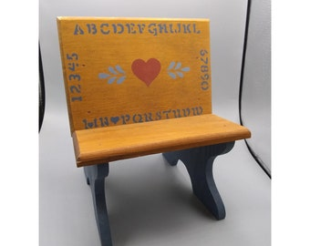 Vintage Miniature Wooden School Desk with Stenciling, Doll Furniture, Country Decor, Photo Prop