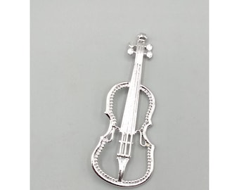 Vintage Large Silver Tone Cello Brooch, Bass Pin, Musical Instrument, Music, Musician Gift Jewelry