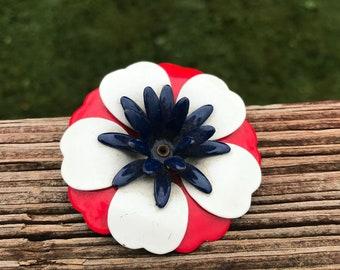 Vintage Patriotic Flower Brooch, Enamel Floral Pin, Red White and Blue Blossom, Springtime, Summer, 4th of July