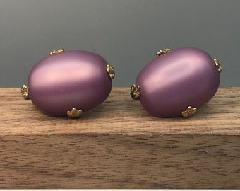 Vintage Oval Cuff Links, Lavender Frosted Glass Large Cabochon, Gold Tone Prong Set Mid Century Cufflinks, Gift for Him Occasion Accessories