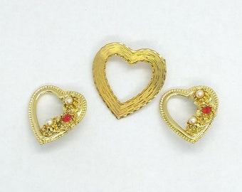 Beautiful Heart Brooch Pin Trio, Gold Tone