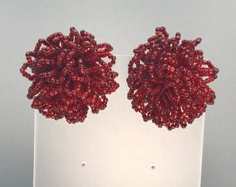 Rich Red Seed Bead Flower Puff Earrings, Vintage Clip On Holiday Party Jewelry
