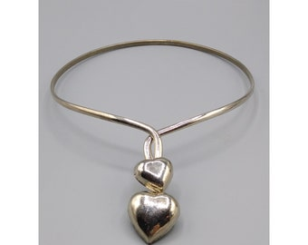 Silver Collar Choker Puffy Hearts, Heart Link Front Opening Necklace, Vintage Romantic Jewelry, Made in India, Great Gift