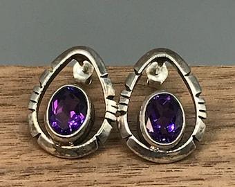 925 Sterling Silver and Amethyst Teardrop Stud Vintage Earrings, Estate Faceted Bezel Set Oval Gemstone in Artisan Setting