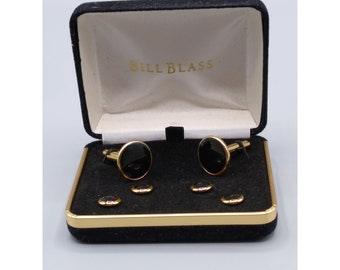 Bill Blass Onyx Cuff Links and Shirt Studs Set, Stylish and Elegant Black and Gold Mens Accessories Wedding or Occasion, NIB Gift for Him