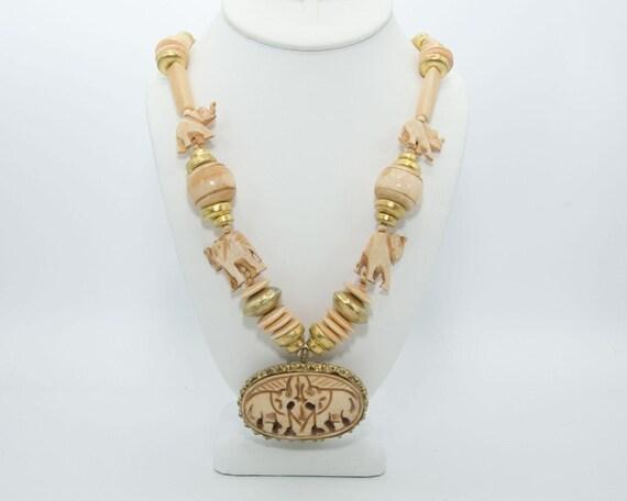 Carved Bone and Brass Lucky Elephant Necklace, Chu