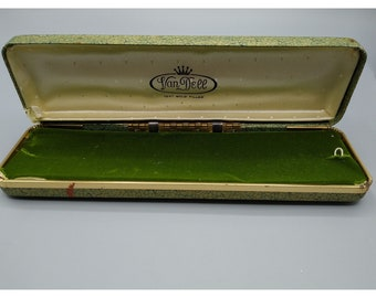 Van Dell Vintage Jewelry Box, Green and Gold Presentation Case, 12k GF Bracelet or Watch Storage Box with Velvet Lining