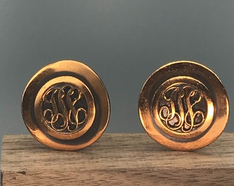 Copper Scrollwork Monogram Earrings, Vintage Clip On with Great Patina, Curved Discs