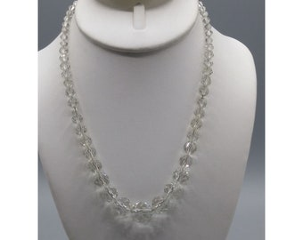 Vintage Faceted Crystal Graduated Choker on Chain, Art Deco High End Clear Glass Beads Necklace